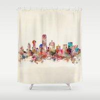 dallas Shower Curtains featuring Dallas city texas by bri.buckley