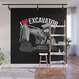 I Love Excavator Wall Mural