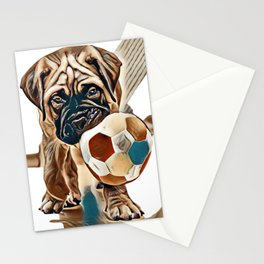 little puppy bullmastiff played in the house. square shape pictures        - Image Stationery Cards