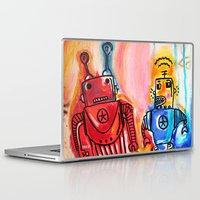 get shit done Laptop & iPad Skins featuring Robots Get Shit Done by The Fem Fox