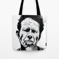 tom waits Tote Bags featuring mr. waits by Darby Krow