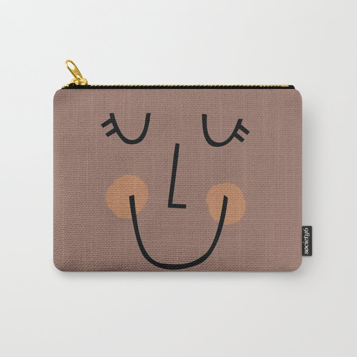 Winky Smiley Face in Brown Carry-All Pouch