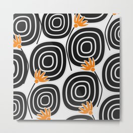 Abstract circles and cute little flowers Metal Print