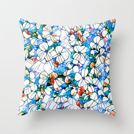 Glass stain mosaic 7 - flower, by Brian Vegas Throw Pillow