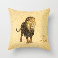 leo Throw Pillows featuring LEO by SensualPatterns