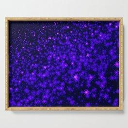 Christmas Blue Purple Night Snowflakes Serving Tray