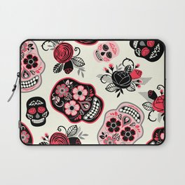 Sugar skulls black and red roses pattern Laptop Sleeve
