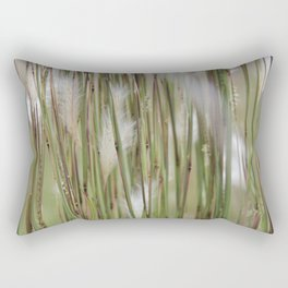 Wispy on green and magenta reeds Rectangular Pillow
