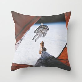 Camping in space Throw Pillow