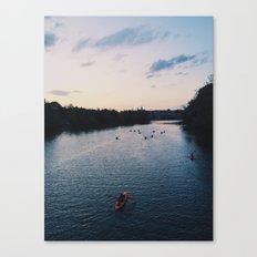 Twilight Kayakers Canvas Print