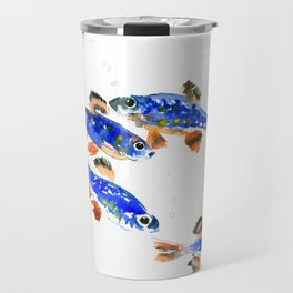 Pearl Danio Fish, Blue red aquatic design decor Travel Mug