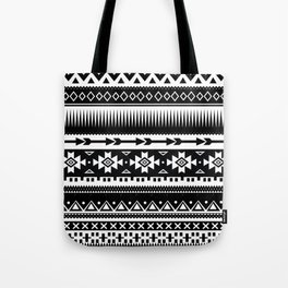 Aztec Pattern Black and White Tote Bag