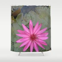 indonesia Shower Curtains featuring water lily (Bali, Indonesia) by Christian Haberäcker - acryl abstract
