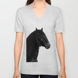 Black beauty Friesian stallion Unisex V-Neck