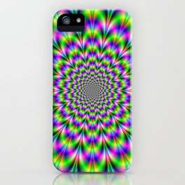 Neon Rosette in Pink Green and Blue iPhone Case