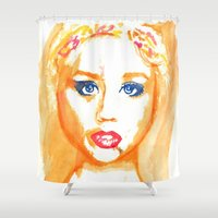 ali Shower Curtains featuring Ali Orange by Kim Ly