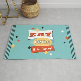 Retro Diner Art -Eat Drink & Be Merry- Mid-Centry Design 1950's 1960's Rug