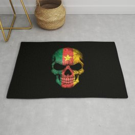 Dark Skull with Flag of Cameroon Rug