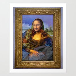 Mona (Kevin) Lisa : Satire + Contemporary Fine Art Art Print