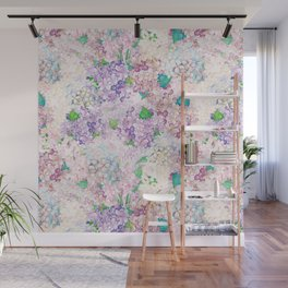 Pastel Purple and blue Lilac & Hydrangea - Flower Design Wall Mural