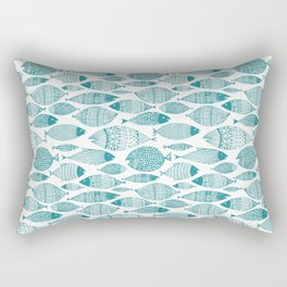 Green Fish White Rectangular Pillow