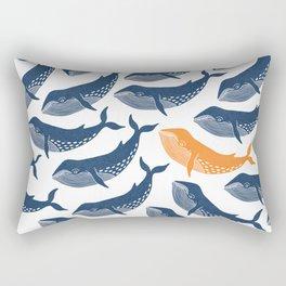 Whale Dance - Blue & Orange Rectangular Pillow
