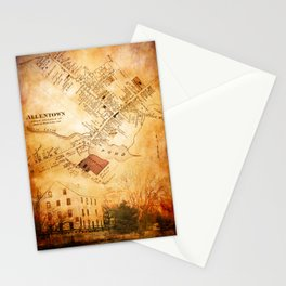 Allentown, New Jersey Map and Mill by Ericka O'Rourke Stationery Cards