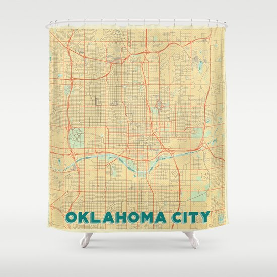 Oklahoma City Map Retro Shower Curtain By City Art Posters