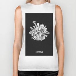 Seattle, Washington Black and White Skyround / Skyline Watercolor Painting (Inverted Version) Biker Tank