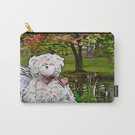 Teddy bear by the pond in autumn Carry-All Pouch