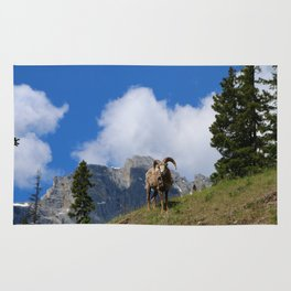 Ram Against Mountain Backdrop Rug