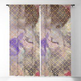Art Deco Mermaid Scales - Watercolor Koi Fish Blackout Curtain