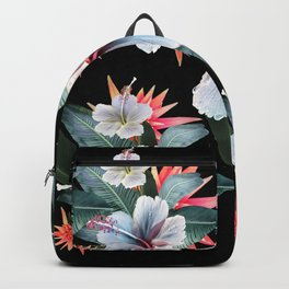 Tropical banana leaf, hibiscus vintage style, Hawaiian decor, retro Backpack