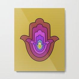 hamsa hand in yellow lotus Metal Print