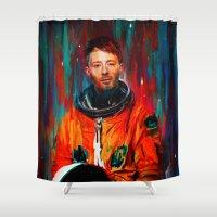 radiohead Shower Curtains featuring Thom Yorke by nicebleed
