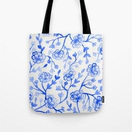 Watercolor Peonies - China Blue Tote Bag