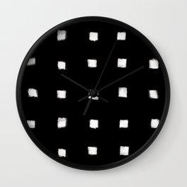 Polka Strokes Gapped - Off White on Black Wall Clock