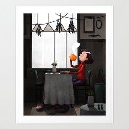 Bewitched pumpkin coffee Art Print
