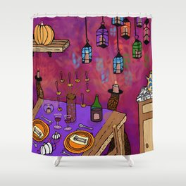 Autumn Table in Candlelight Shower Curtain