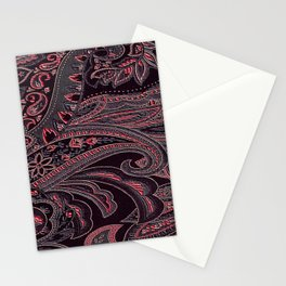 Paisley 10 Red Stationery Cards