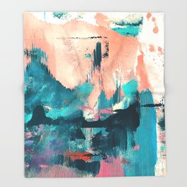 Sugar: a fun, minimal mixed-media abstract piece in pinks and blues Throw Blanket