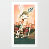 forrest gump Art Prints featuring Forrest Gump Tribute by Daniela Volpari