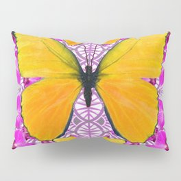 FUCHSIA COLORED  ORCHIDS &  YELLOW  BUTTERFLY FLORAL Pillow Sham