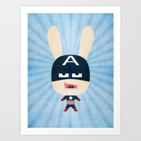 We are all rabbits \ Captain America - Todos somos conejos \  Capitan america Art Print