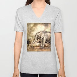 An Elephant and A Lion - Vintage Artwork Unisex V-Neck