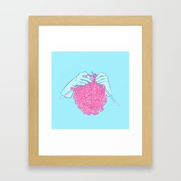 Knitting a brain Framed Art Print