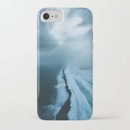 Moody Black Sand Beach in Iceland - Landscape Photography iPhone Case