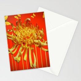 SURREAL YELLOW SPIDER MUM & BUTTERFLIES ORANGE ART Stationery Cards