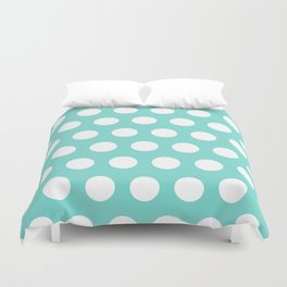 Medium White Dots on Aqua Duvet Cover