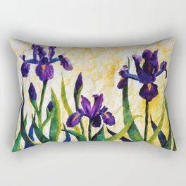 Watercolor Wild Iris on Wrinkled Paper Rectangular Pillow